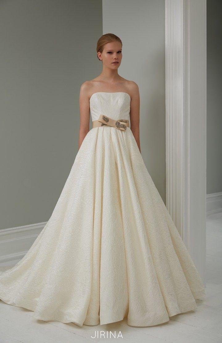 Modern wedding gown from 2015 Steven Khalil Wedding Dress Collection : http://www.itakeyou.co.uk/wedding/steven-khalil-bridal-2015-collection/ #weddingdress:
