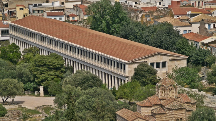 Stoa of Attalos as seen from the Acropolis Hill slopes. (Walking Athens - Route 04 / Plaka)