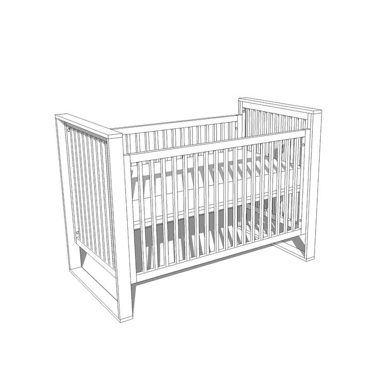 Mid-Century Modern Baby Crib SketchUp File — Crafted ...
