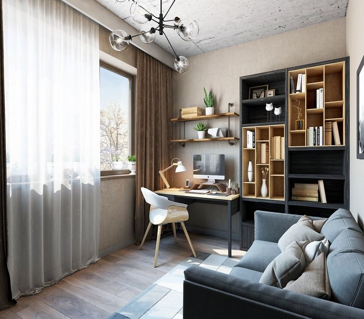meubles bureau modernes en bois clair et bois noir et étagères industrielles