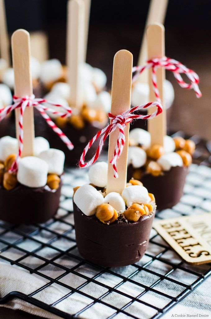 Mocha salted caramel hot chocolate on a stick is a great homemade food gift for someone you love - like yourself!