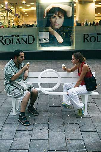 Same question for public seating: keep it uniform or eclectic? I'd like to mix public art with public seating
