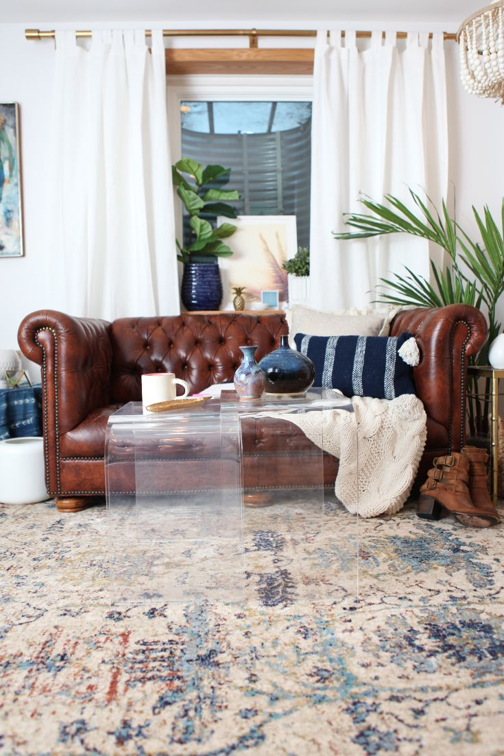 One Room Challenge — Fall 2015 Finale. Final room reveal of my Home Office design project. A makeover with vintage finds mixed with new home decor. I wanted a workspace that was comfy. Click thru to the blog for all the details. - Interior Design using the Loloi Anastasia Rug and Vintage Chesterfield Sofa