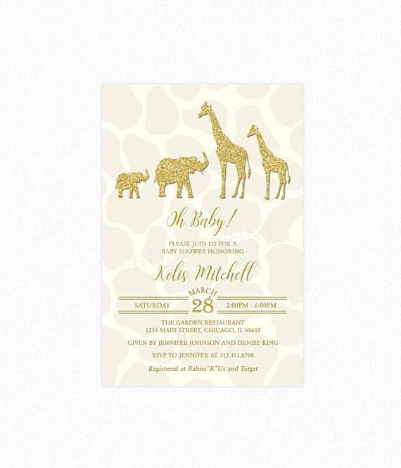 Safari Baby Shower Invitation Gold And Cream Safari Baby Shower