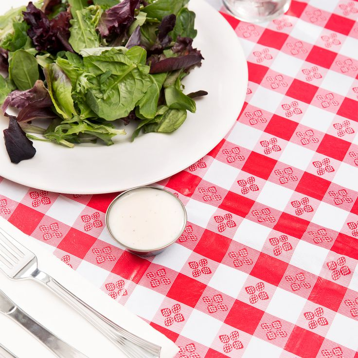 """52"""" x 52"""" Red Gingham Vinyl Table Cover with Flannel Back"""