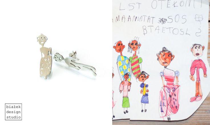 Personalized Earrings | Children's Drawings Inspired Jewelry Made By The Polish Artist Bialek Design Studio | https://www.facebook.com/bialekdesignstudio/