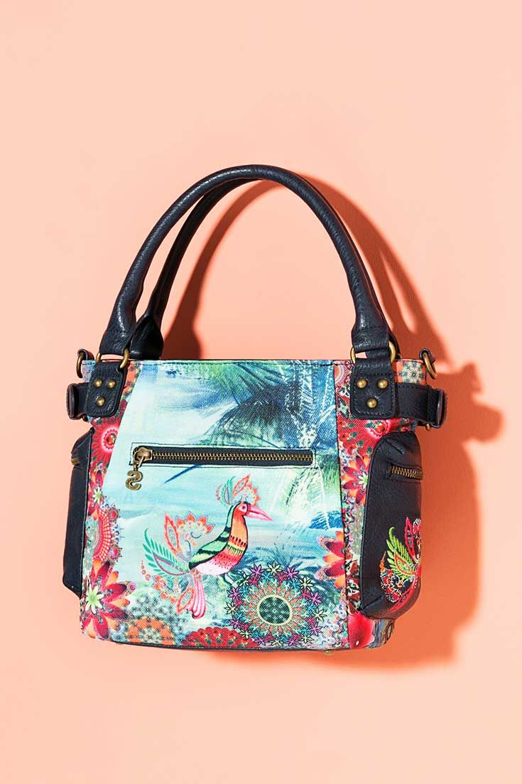 Navy blue bag with a joyful and colorful print.