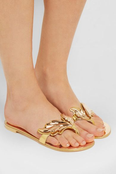 Giuseppe Zanotti - Embellished Metallic Patent-leather Sandals - Gold