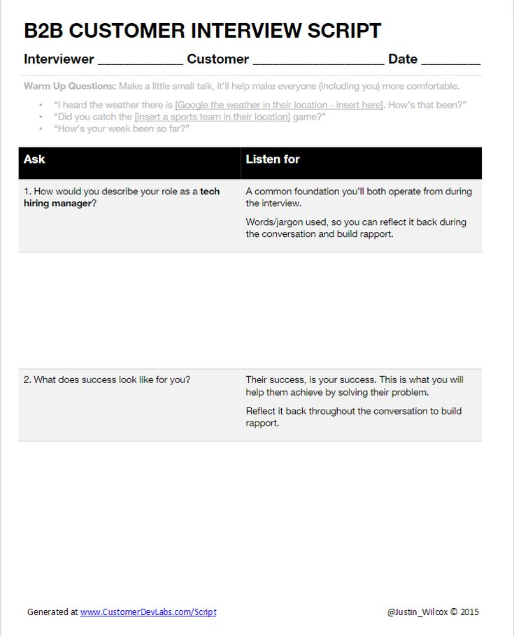 Customer Interview Script Generator - Customer Development Labs