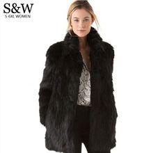 Beyaz/Siyah Taklit Kürk Kadın Kış Ceket orta-uzun Tavşan Tilki Kürk Coats Artı Boyutu XXXL 4XL 5XL kadın Kürk Ceket Büyük Boy(China (Mainland))