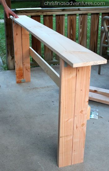 sofa table tutorial - I guess we need to make one since Chris just sets his drinks right on the couch...
