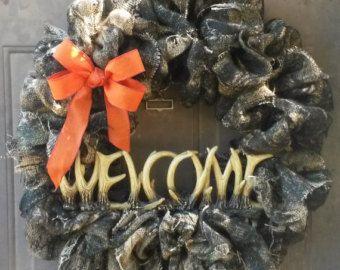 Camouflage Wreath Camo Wreath Burlap by ContemporaryCrafting
