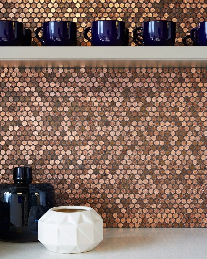 A mosaic tile made of actual pennies is mesh mounted and perfect for any  floor tile & kitchen backsplash.