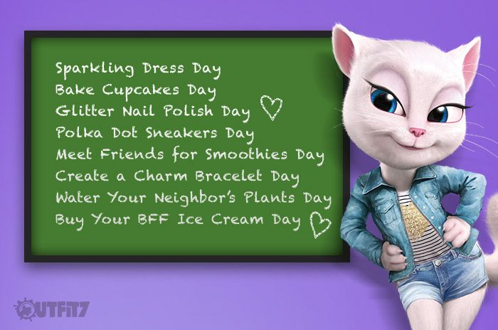 "Sometimes you just have to have a ""Make Up Your Own Holiday Day"" xo, Talking Angela #talkingangela #mytalkingangela #LittleKitties"