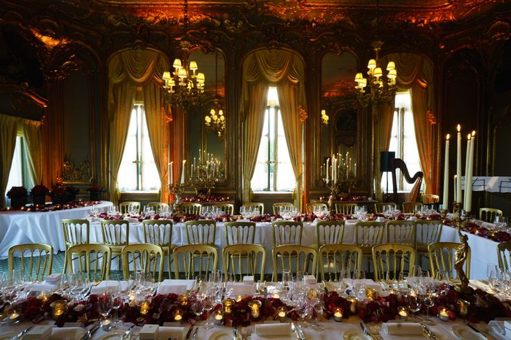 The French dining room at Cliveden House set out for a wedding breakfast http://www.clivedenhouse.co.uk