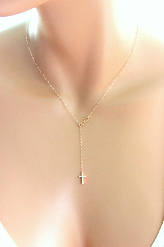 Tiny Rose Gold Cross Infinity Necklace Gold Filled Small Delicate Jewelry Lariat Y Necklaces Womens Girls Confirmation Simple Gift for her