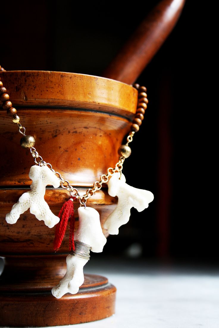 "Boho Jewelry. Coral handmade necklace with wooden pearls. Unique design Limited edition! Search for ""Wrought Wreck"" on Etsy.com"