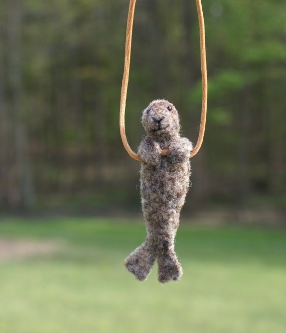 felted seal necklace