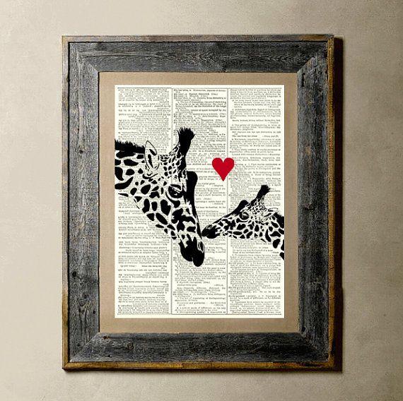 Giraffe Love  Printed on a Vintage Dictionary by TheLittleRice, $8.00Wall Art, Boys Nurseries, Etsy, Vintage Dictionary, Vintage Wardrobe, 800, Art Prints, 8X10, Nurseries Ideas