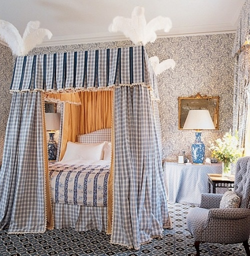Blue and white bedroom by John Stefanidis. So pretty but I could do without the ostrich plumes!