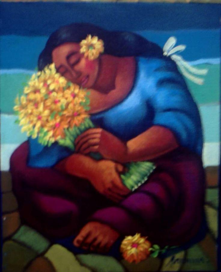 Mamacha. WALTER ANICANA ZAMORA. Pintor peruano En su pintura trata de expresar el sentido sublime y místico de la cultura indígena peruana. Elige colores ancestrales dejados por los antiguos entre los rojos, ocres y tierras para transmitir una atmósfera mágica donde la composición figurativa se une al tratado moderno de la pintura entre el surrealismo y el concepto neoabstracto. http://com-mover.blogspot.com.es/p/anicama.html