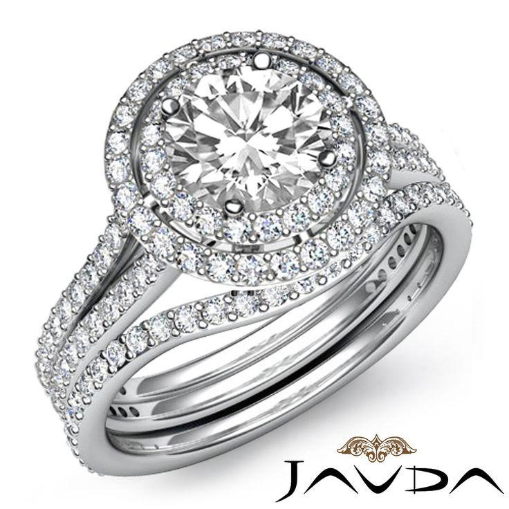 Round Diamond Halo Pave Bridal Engagement Ring GIA G VS2 14k White Gold 3 2 Ct | eBay