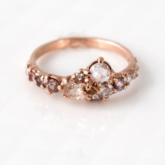 Pink Champagne Cluster Engagement Ring in 14k Rose Gold - Rose Cut White Diamond, Pearl, Champagne Diamond, Sapphire, Zircon Engagement Ring