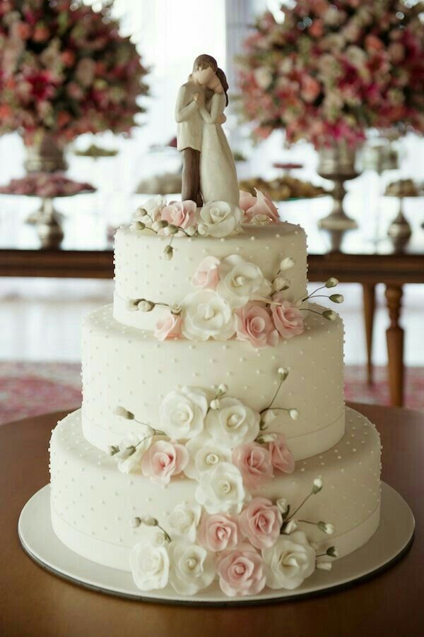 3 Layer Wedding Cake Idea ~ Love the simple texture of the poka dots! White + Light Pink Roses with a gorgeous simple topper.