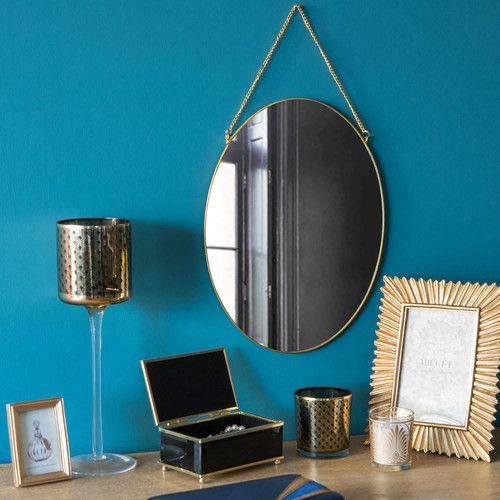 Miroir en métal doré H 33 cm ALISHA