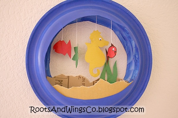 Ocean theme plate displays paper plate crafts for for Fish bowl craft