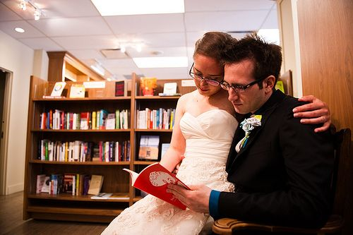 The Cinnamon Buns took their love of books to, where else, a bookstore!: Bookstore, Wedding Photos, Weddingbee Bloggers