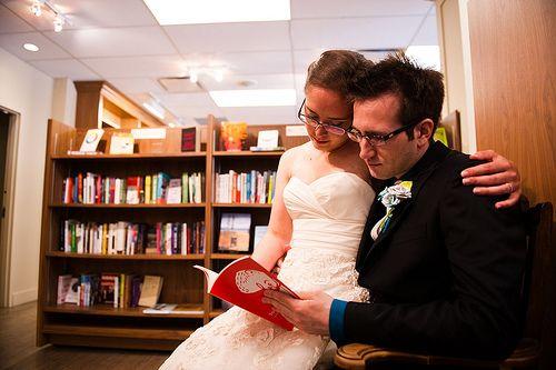 The Cinnamon Buns took their love of books to, where else, a bookstore!Cinnamon Buns, Wedding Photos, Couples Portraits, Weddingbee Bloggers