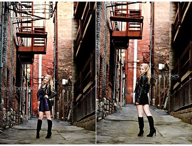 senior girl black leather jacket in downtown nashville alley by Summer- Real Promises Photography, via Flickr