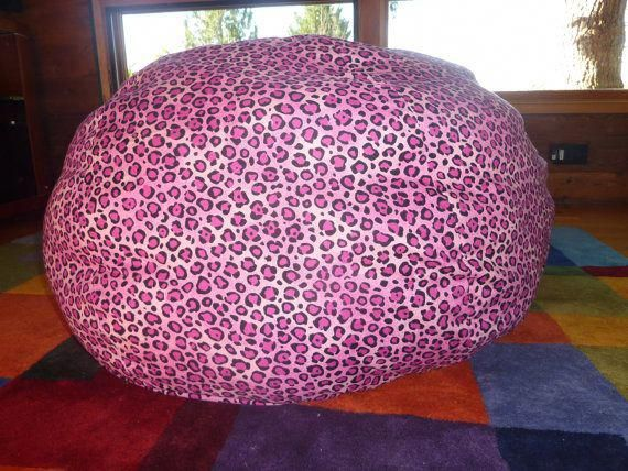 Hot Pink Leopard Print Bean Bag Chair Cover by CopperBugCompany