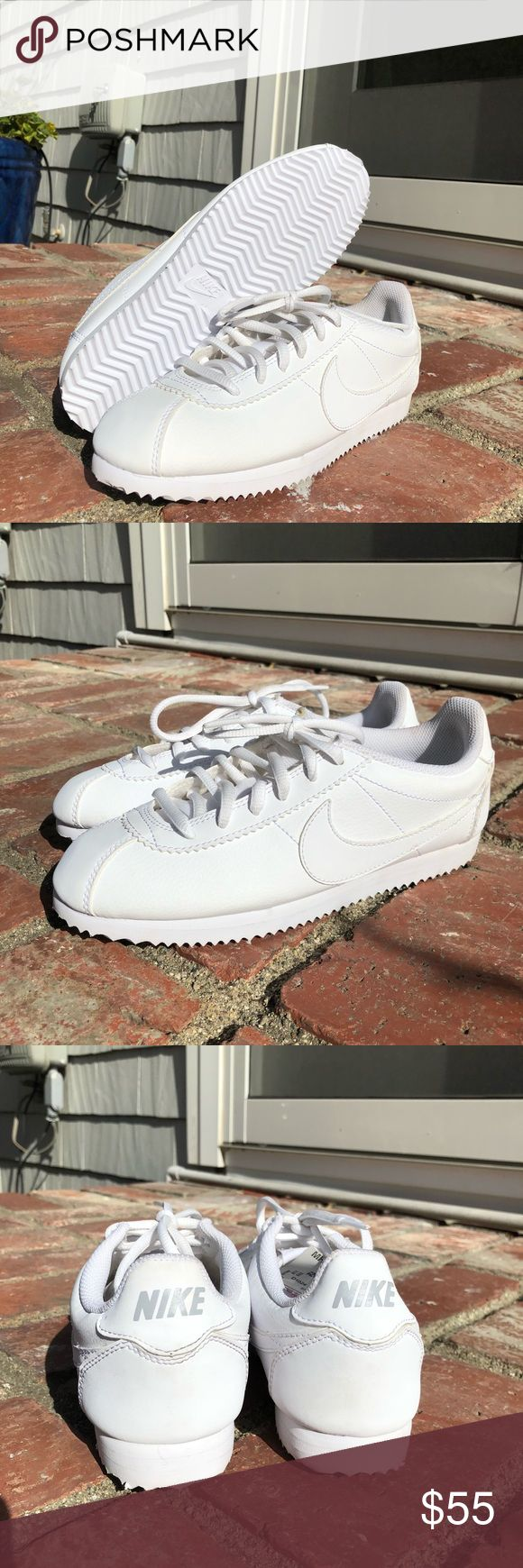 Nike Cortez white Brand new all white Nike Cortez! Size 5.5Y which is 7 women's. These are a classic shoe in a simple color way! Nike Shoes Sneakers