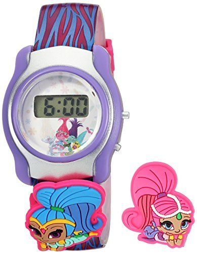 Nickelodeon Girls Shimmer and Shine Digital Display Multi-Color Watch SASKD16015  Interchangeable slide-ons  Fun kid's digital watch  Chinese-automatic Movement  Case Diameter: 39mm  Not water resistant