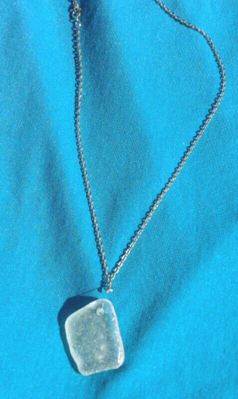 Sea glass #necklace, this is my first one never thought it was so easy to drill holes :)