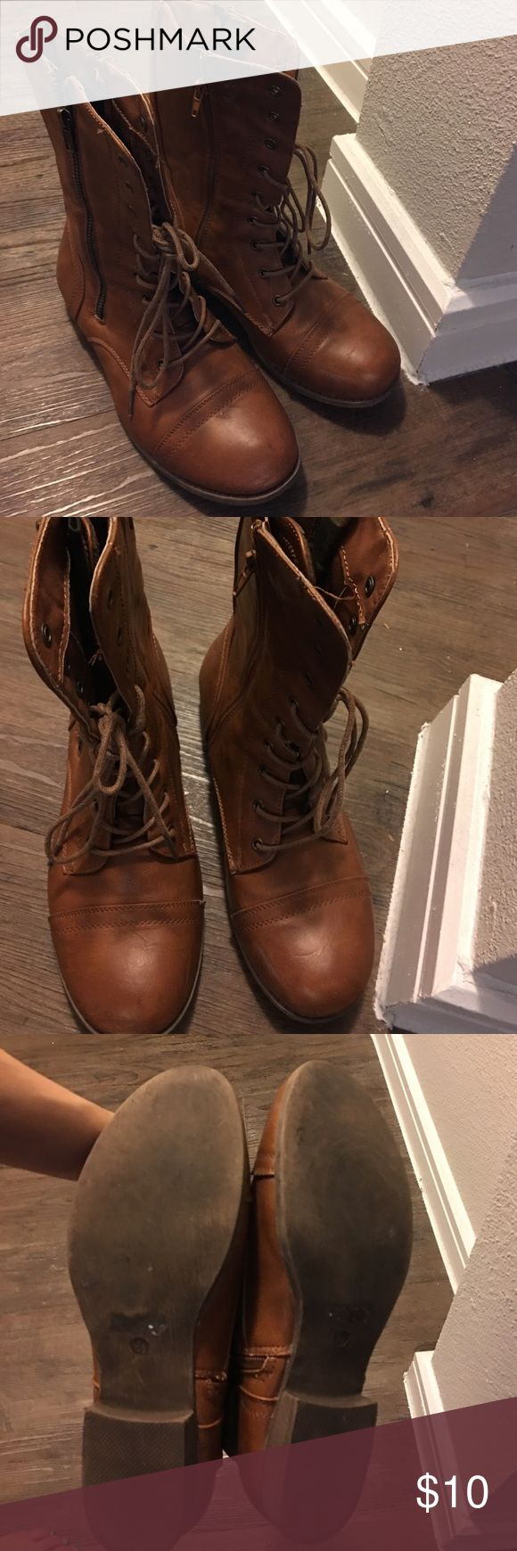 Ladies Cognac Boot Cognac, size 8.5, Agaci Shoes, worn a handful of times, lots of life left, very comfortable, zipper on the inside and outside of both boots, and lace up, Refresh Shoes Combat & Moto Boots