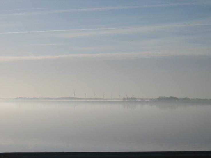Bleak winter morning overlooking IJsselmeer, Netherlands