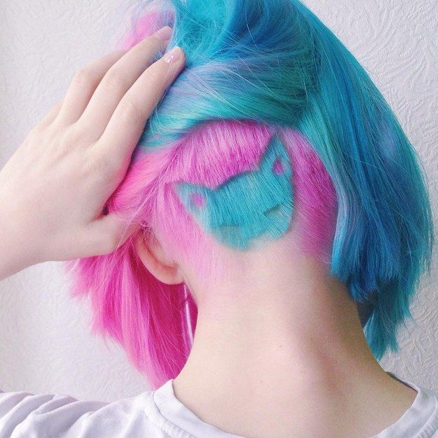 A Technicolor pink and blue kitty.