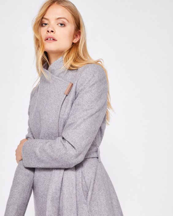 cfca531ae0ba Wool-cashmere wrap coat - Light Grey | Jackets and Coats | Ted Baker ...