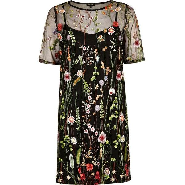 River Island Black floral embroidered T-shirt dress (£40) ❤ liked on Polyvore featuring dresses, embroidered flower dress, mesh tshirt dress, river island, tee shirt dress and tee dress