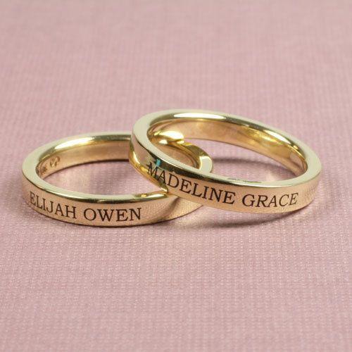 3mm Engraved 14k Gold Flat Wedding Band