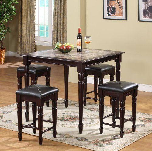 5pc cherry finish wood counter height faux marble dining table u0026 stools set by kings brand - Cheap Dining Room Sets
