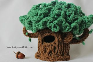 Lil' Oak ~ The Hiding Tree, I designed this tree to go with my latest free patterns, Lil' Trouble Teddy and the Tiny Squirrel. The tree can hide 4 little bears and squirrels inside, then pull on the s