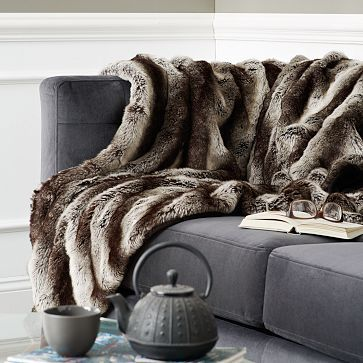 Tengo que sumar una manta de piel sintética para el living - Ombre Faux Fur Throw - Gray (replace current fur throw, layer w/ cream)