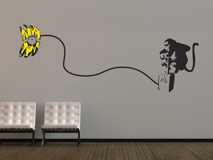 This comedic wall sticker is inspired by the work of iconic UK graffiti artist Banksy.  Featuring a cheeky monkey about to detonate a banana bomb, this sticker will bring a smile to the faces of all your friends and family.  All of our banksy wall stickers are precision cut from our high grade low-tac self adhesive vinyl and are supplied with detailed fitting instructions and pre-applied application tape to ensure easy, fast and fault-free application of your wall stickers.