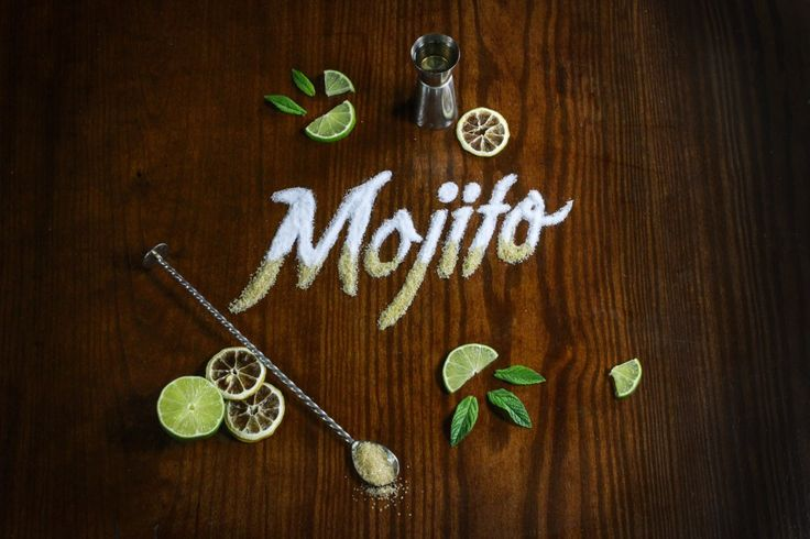 Mojito Food Lettering for Atlántico Bar in Spain ( Mallorca, Limón, Azúcar Morena, Sugar, Cocktail)