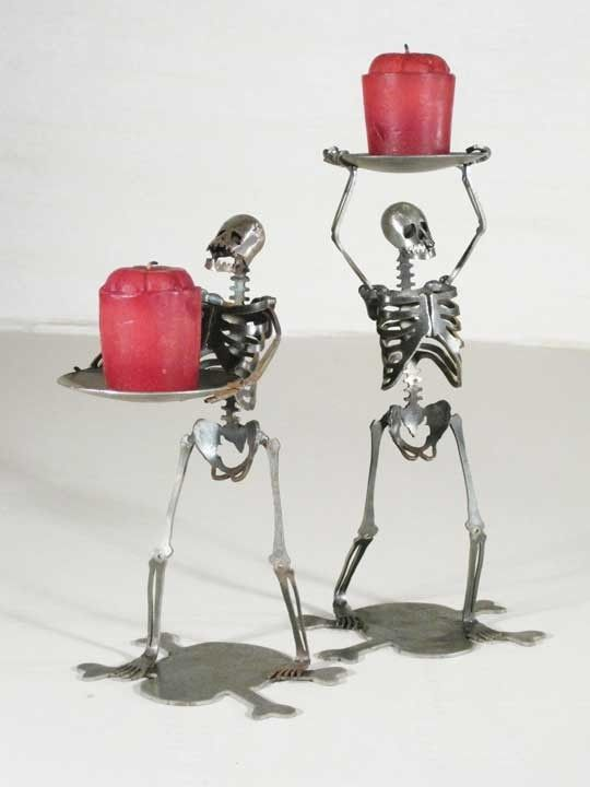Zombie Skeletons Standing Candle Holders Set of by zedszombieranch