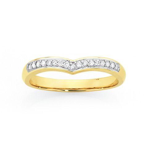 9ct Gold Diamond 'V' Shape Anniversary Ring Total Diamond Weight = 0.15ct